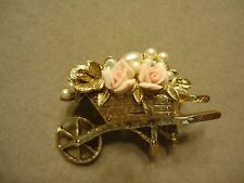 Vintage Romantic French Country Wheelbarrow of Rose Flowers & Pearls Brooch Pin