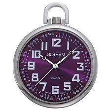 Gotham Men's Silver-Tone Slim Railroad Quartz Pocket Watch # GWC15027SP