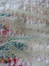 "3/8"" Tiny thin trim light Green Lace vintage 3 yrds dolls picoted cotton"