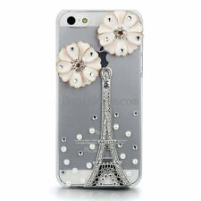 Eiffel Tower Flower Luxury Bling Clear Hard Case Back Cover for iPhone 5 5S