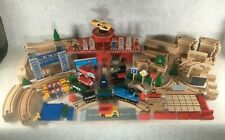 Thomas Brio Compatible Wood Wooden Train Set Huge Lot Cars Trucks People Track