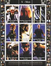 X-MEN Hugh Jackman WOLVERINE FUMETTI FILM CONGO 2001 MNH STAMP SHEETLET