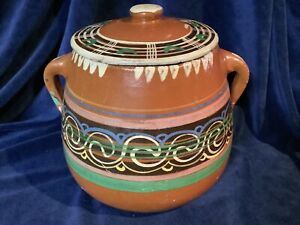 Vintage Traditional Mexican Handmade Glazed Terracotta Clay Cooking Pot