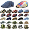 Men Denim Peaked Ivy Cap Golf Driving Flat Cabbie Newsboy Beret Hat NEW