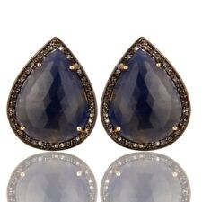 41.53 Ct. Diamond And Sapphire Gemstone 925 Silver Stud Earrings Jewelry
