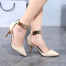 Lady Pointed Personality High-Heels Stiletto Toe Pump Strappy Ankle Strap Shoes