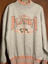 Vintage Arctic Wear Alaska Ringer Mock Neck Sweatshirt Pink Gray XL Made in USA