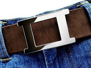 Gürtelschließe eckig elegant buckle silber poliert Wechselschnalle 4cm