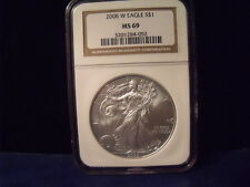 2008-W American Silver Eagle - Uncirculated  Burnished Coin - NGC MS69 D237