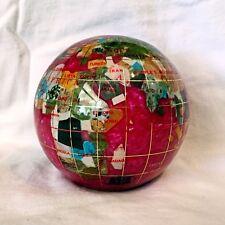 """Unique Art 4.3"""" (110 mm) Diameter Gemstone Globe Paperweight Paper weight (Pink)"""
