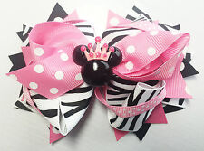 "Pink dot Zebra Minnie mouse crown 5"" Inspired Hair Bow Grossgrain Loopy Boutique"