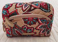 Vera Bradley Iconic Medium Cosmetic Bag Desert Floral Beige Travel NWT MSRP $34
