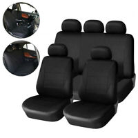 Universal Black Car Seat Covers 9Pcs Full Set Protectors Washable Front Rear New