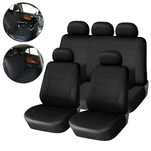 9PCS Universal Car Seat Covers Full Set Sporty Black Washable Compatible
