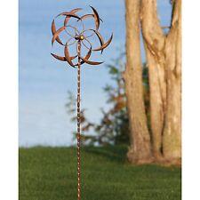 Copper Plated Metal Wind Spinner Stake Outdoor Garden Yard Decor Art Sculpture