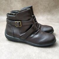 Studio Works Womens Lovely Sz 7.5 M Brown Faux Leather Ankle Boots Booties