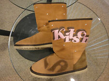 Kitson LA Embroidered Leather Shearling Sheepskin w/Rhinestones Boots. Size 8