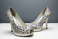 Aldo High Heels Peep Toes Floral Leather White Blue Summer Spring 36 3 3.5