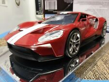 2017 Ford GT Red / White Stripe Black Interior 1/24 Scale - Clear Display Case