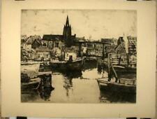 Eau forte début XXe d'Apol, Entrée d'un port Belge