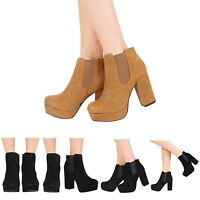 NEW LADIES WOMENS HIGH HEEL PLATFORM SLIP ON CHELSEA ANKLE BOOTS SHOES SIZE 3-8
