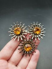 And Orange Flower Brooch Vintage 1930s Silver Tone