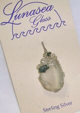 LUNASEA TREASURES STERLING SILVER WRAPPED SF GREEN SEAGLASS & MOSS AGATE PENDANT
