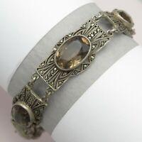 Vtg 1930's Art Deco Sterling Silver Smoky Quartz Marcasite Bracelet