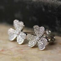 Pretty Flower 925 Silver Drop Earrings for Women Jewelry White Sapphire A Pair