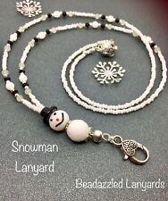 Beaded Lanyard,Snowman Lanyard,ID Pass Holder,Cruise Pass Lanyard, Xmas Gift,L77