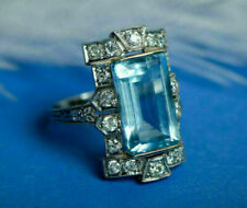 Retro Vintage Engagement Ring Aquamarine Antique 3Ct Diamond 14k White Gold Over