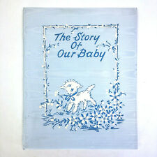 Vtg 1949 Story of Our Baby Book Blue Satin Moire Lamb Artist Writer Guild Unused