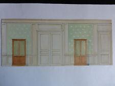 Aquarelle architecture déco d'intérieur - Projet d'antichambre - C.1930.