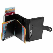 Secrid Black Mini Leather Wallet w Magnetic 10 RFID Credit Cards Protector