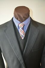 JoS A Bank Signature Gold 2 btn dark gray beaded stripe suit sz 46XL pants 39x33