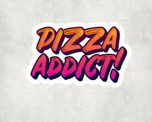 2 x Pizza Addict Water Bottle Flask Sticker Car Bike Laptop Indoor Decals