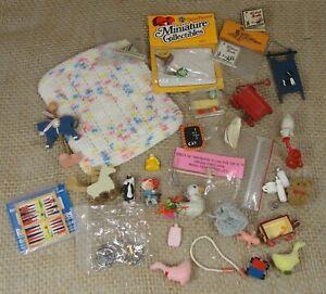 Vintage Dollhouse Miniature Baby Child Room Nursery Toys Lot 1:12 Sled Doll