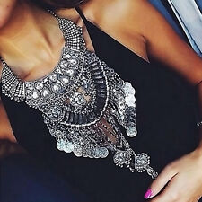 Design Womens Silver Trendy Long Big Bib Statement Bohemain Necklace Collar Pro