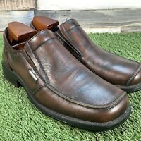 UK8 Kickers Brown Leather Slip On Loafer Shoes - Casual Formal Wedding Work