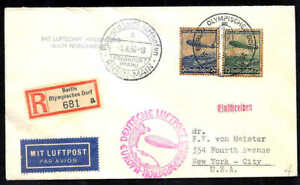 Germany WW II Zeppelin Olympic fligth 1936 cover registered