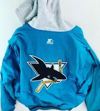 Vintage Starter San Jose Sharks Puffer Jacket Size Men's XL Cotton Hood Big Logo