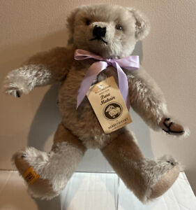 """Merrythought 14"""" Jointed Grey Bear with Lavender Ribbon & Tag."""
