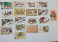 LOT OF 18 LARGE LETTER  GREETINGS ANTIQUE  POSTCARDS