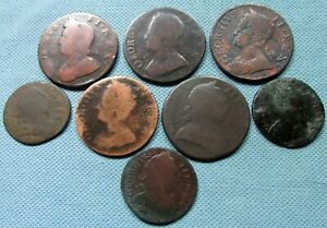 Lot 8 1700s George Halfpenny Farthing British US Colonial Era Copper Old Coins