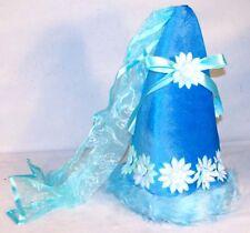 BLUE FAIRY PRINCESS HAT costume kids hats dressup cap halloween acccessory new