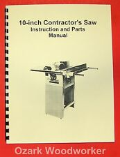 """JET/Asian JTS-10 10"""" Contractor Table Saw Operator's & Parts Manual 0381"""