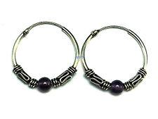 N Ladies Sterling Silver Amethyst Bead Bali Creole Earrings 19mm 925 Hallmarked