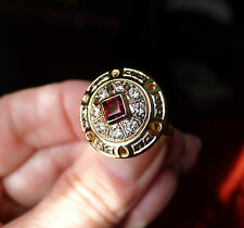 Striking 14K Yellow and Rose Gold Medallian Design Ring with CZs and Garnet- NEW
