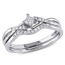 10k White Gold GH 1/5 CT Princess and Round Diamonds TW Bridal Set Ring I2;I3