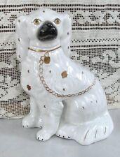 Lovely Huge Antique Staffordshire Dog Figure with Goldleaf Collar, Lock, Chain